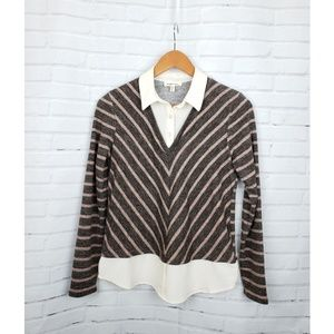 Monteau Chevron Mixed Layered Collared Sweater